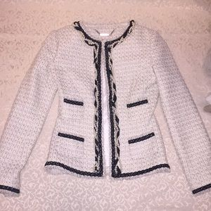 Black and White Tweed Jacket with Pearl Details